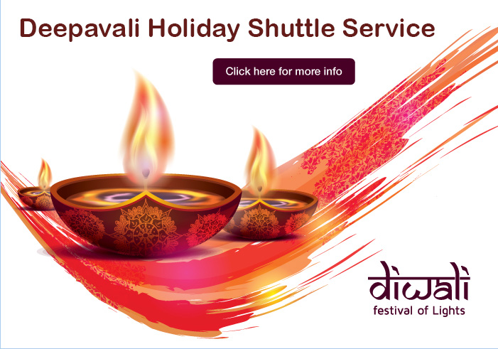 Deepavali Holiday Shuttle Service - Tuesday, 29 October 2019