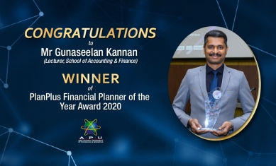 CONGRATULATIONS to Mr Gunaseelan Kannan (Lecturer, School of Accounting & Finance)
