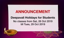 Deepavali Holidays Announcement